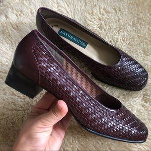 Vintage basket weave leather brown loafers 7.5